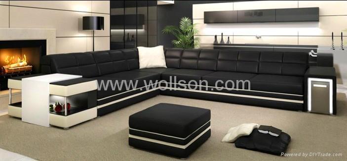 现代真皮客厅沙发 1