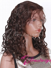 14inches #2 Dark Brown Spanish Indian Remy Hair Full Lace wig