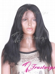 trustwigs 12inches #1 Jet Black Yaki Indian Remy Hair Full Lace Wig