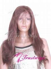 16inches Color#2 Dark Brown Silky Straight Indian Remy Hair Full Lace Wig