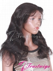 18inch Color1B Off Black Body Wave Indian Remy Hair Full Lace Wig