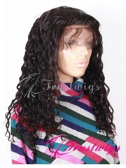 16inches 1B Off Black Deep Wave Glueless Full Lace Wig