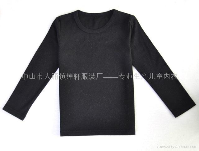 儿童长袖圆领黑色T恤 2