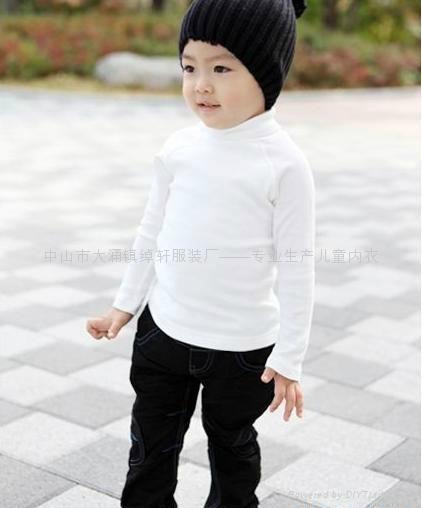 儿童高领白色T恤 1