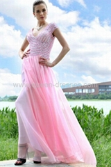 High quality A-line V-neck Cap Sleeve Beaded Chiffon Evening dress