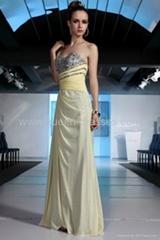 High quality One-Shoulder Rhinestones Beading Draped Prom Gowns Wedding Dress