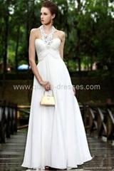 High quality New Brand Elegant White Halter Evening Dresses