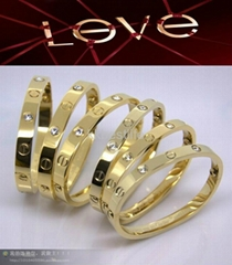 clasical love style 316L stainless steel bracelet bangle rose golden  crystal