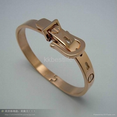 special design 316L stainless steel unisex buckle with nail  bracelet bangl