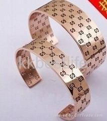 exaggerate design 316L stainless steel bracelet bangle  rose gold with pattern