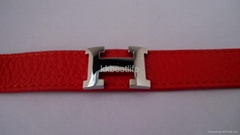 genuine leather stainless steel bracelet   with popular H design