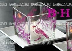 10BH8100 square glass tealight holder