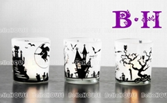 11BH8080A Haloween glass candle holder