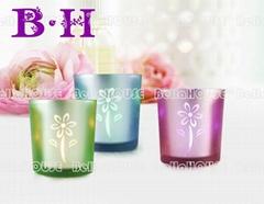 11BH10004 Flower pattern glassc candle holder