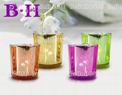 11BH10002 shiny glass tealight holder
