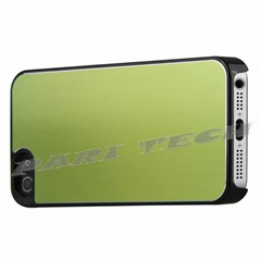 iPhone5 Case Green Brushed Metal Aluminum Chrome Hard Back Skin Case Cover