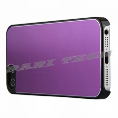 iPhone5 Purple Brushed Metal Aluminum Chrome Hard Back Skin Case for iPhone 5