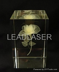 Color laser engrave in crystal