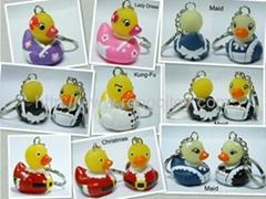 Plastic rubber duck keychain