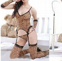 Sexy Leopard Print Lady Garter Tops Thongs Body Stockings Gloves Outfit Lingerie