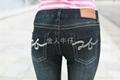 烟灰黑洗水磨白小脚裤 4