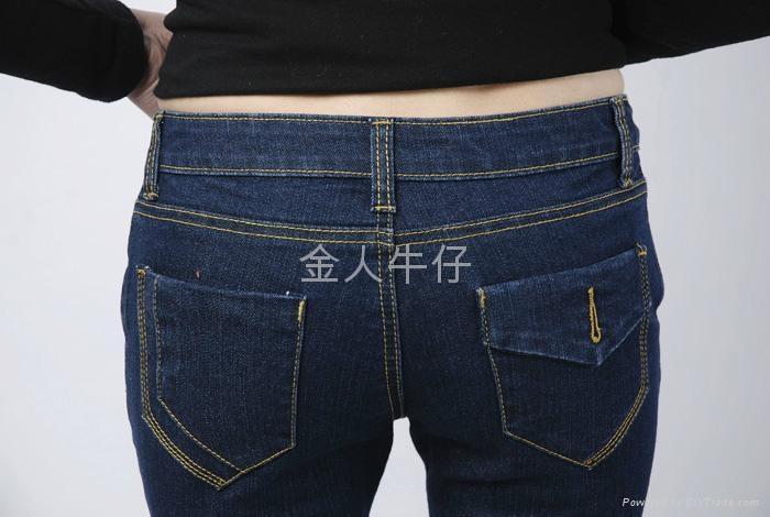 深蓝弹力小脚牛仔裤 4