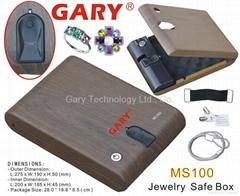便携式木纹生物指纹技术迷你珠宝保险盒