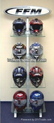 High quality economic motorcycle helmet stand with clear acrylic shelves