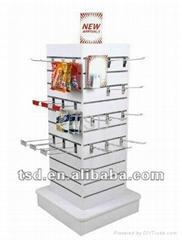 Freestanding spinning tower slatwall display/ revolvable slat wall display for s