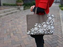 青花番蓮紋帆布購物袋