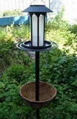 Solar bird feeder with flower pot