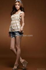 Fashion Alice Style U Neck Blouse Elastic Waist Tank Top Apricot
