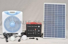 Portable Solar System2 LED lamps12VDC fan20W solar panel