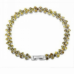 Fashion Jewelry Lady Gift Green Stone Silver Plated Bracelet