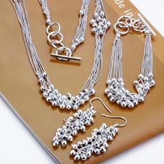 925 si  er jewelry beads necklace+bracelet+earrings