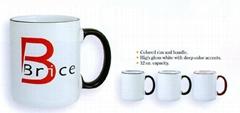 white mug with color rim&handle ,two tone mug