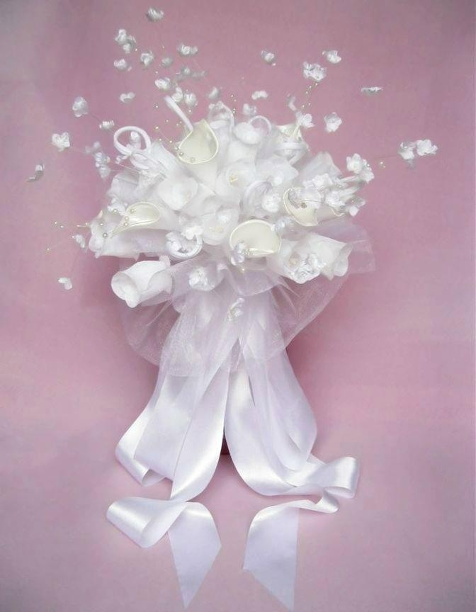 Classical White Wedding Bouquet with Artificial Flowers - HB1048-24 ...