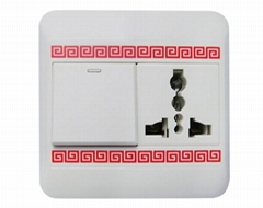 """Multifunction switch socket with Chinese """"Boundless Wealth"""" Lines Adorns"""