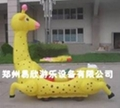 广场儿童卡通动物彩色充气电瓶车