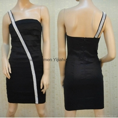 Diamond Black Layered Prom Dress Short JM1120