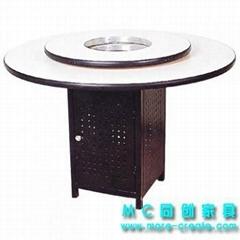 圓形防火板火鍋桌