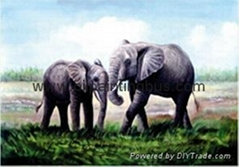 Animal elephant oil painting art craft