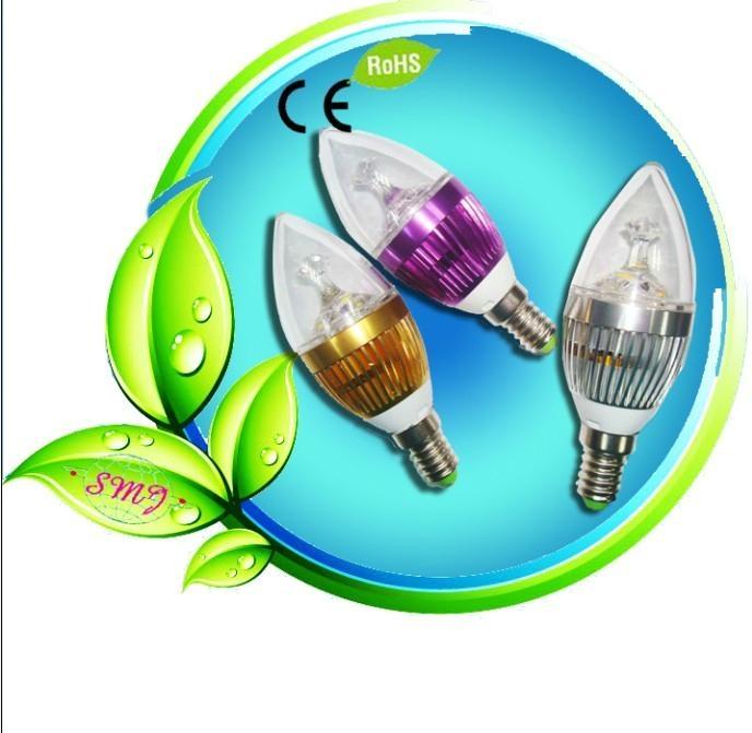 IP54 3pcs 3.5w led candle light with AL6063 & Glass 1