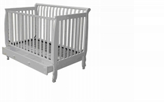 wooden baby bed with drawer
