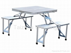 Four Seat Aluminum Picnic linked table&chairs