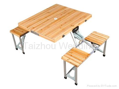 Outdoor Portable Wooden Folding Camping Picnic Table 1