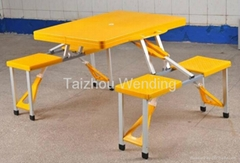 Outdoor Yellow Plastic Folding Camping Picnic Table