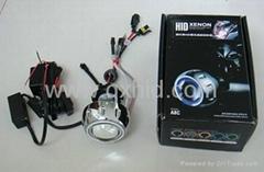 Motorcycle Bike HID Bi Xenon Headlights Projector Lens Kit with Angel Eye