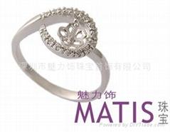 魅力饰18K金珍珠戒指空托