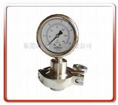 立式全不锈钢卫生型带卡箍隔膜压力表